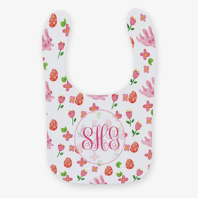 Bunnies, Flowers & Easter Eggs Custom Baby Bib