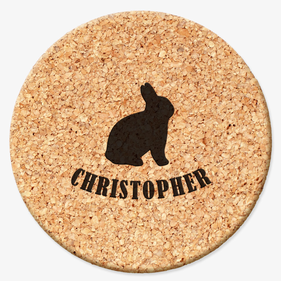 Bunny Personalized Round Cork Coasters
