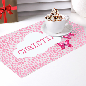Pink Butterfly Personalized Placemat