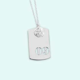 Silver Charm With Small Soccer Ball Pendant Personalized With Cutout Numbers