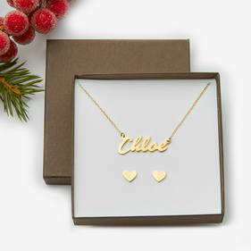 Chloe Style Name Necklace w Heart Stud Earrings
