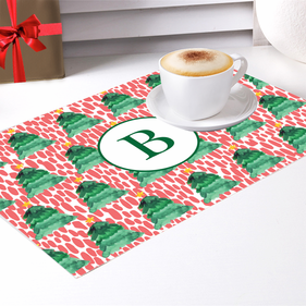 Custom Christmas Trees Monogram Placemat