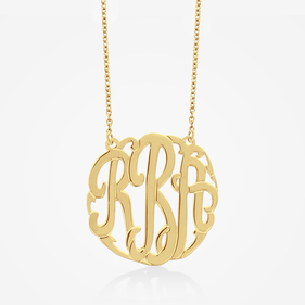 Classic Gold over Silver Monogram Necklace
