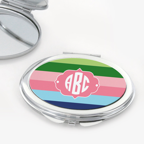 Color Stripes Oval Shape Monogram Compact Mirror