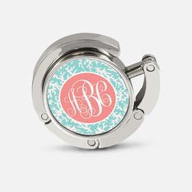 Coral Folding Purse Hanger Personalized with Monogram