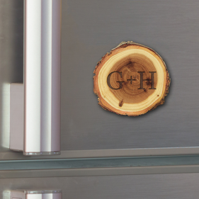Couples Custom Initial Old West Log Magnet