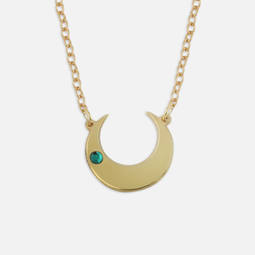 Crescent Moon Sterling Silver Cut-Out Necklace