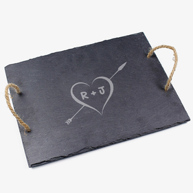 Custom Couples Initials Slate Tray With Jute Hanger