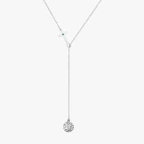 Custom Crystal Ball Lariat with Birthstone Cross Necklace