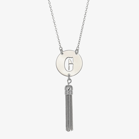 Custom Cutout Initial Necklace with Tassel