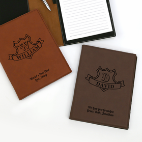 Custom Dad's Leatherette Portfolio with Notepad