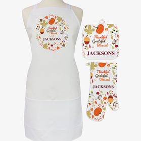 Custom Fall Pumpkin Nut 3-Piece Apron, Pot Holder and Mitt Set