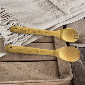 Custom Family Bamboo Salad Spoon & Spork Set