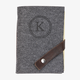 Felt Journal with Leather Strip & Snap Closure