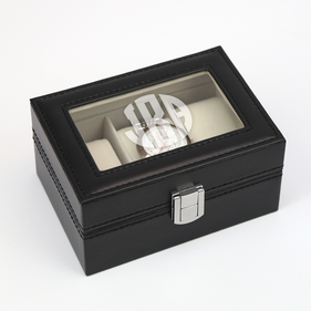 Custom Initial Men's 3-slot Black Leather Watch Case