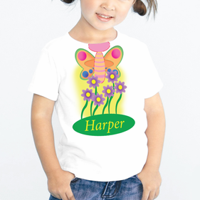 Custom Kids Butterfly T-Shirt