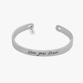 Custom Live Your Dream Cuff Bracelet with Initial Charm