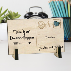 Custom Make Your Dreams Happen Wood Postcard