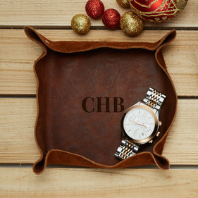 Custom Monogram Genuine Leather Stash Tray