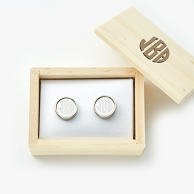 Custom Round Monogram Cufflinks with Wooden Collection Box
