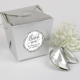 Custom Silver Polished Fortune Cookie Gift with Thank You Note