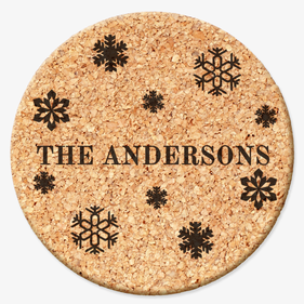 Custom Snowflakes Family Round Cork Coasters