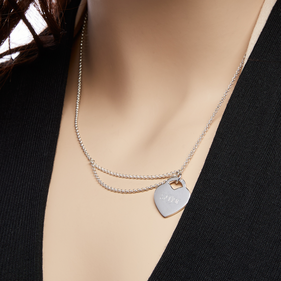 Custom Sterling Silver Double Chain Heart Necklace with Monogram