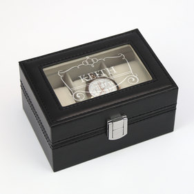 Customized 3-slot Black Leather Watch Case