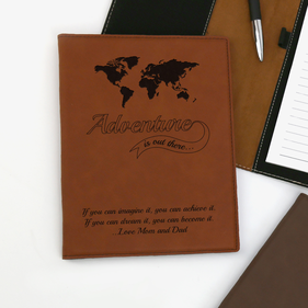 Customized Adventure Leatherette Portfolio with Notepad