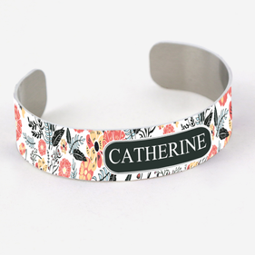Customized Floral Cuff Bracelet