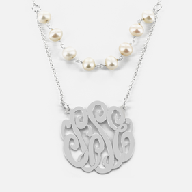 Double Layer Silver Monogram Necklace with Fresh Water Pearls