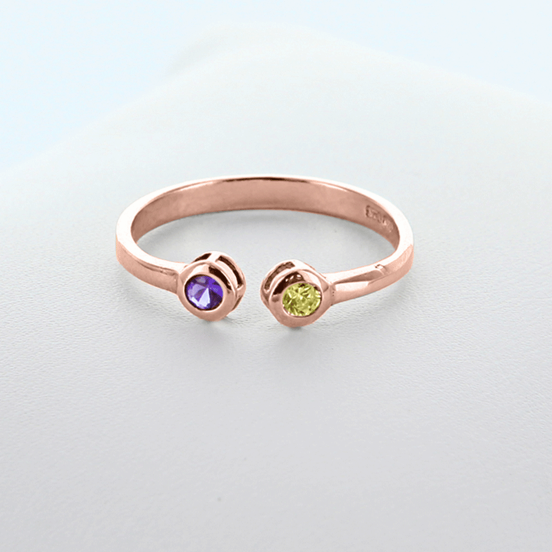 dual birthstone couples stackable ring in gold