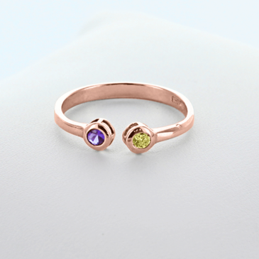Dual Birthstone Couples Stackable Ring in Rose Gold over Silver