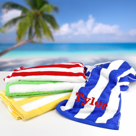 Embroidered Monogram Cabana Striped Loop Terry Beach Towel