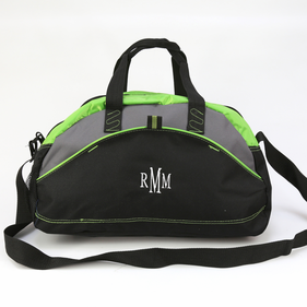 Embroidered Monogram Contrast Small Duffel Bag