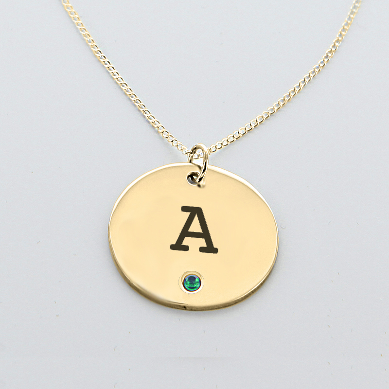 engraved initial circle pendant with birthstone in yellow