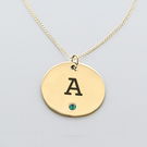 Engraved Initial Circle Pendant with Birthstone in Yellow Gold over Silver