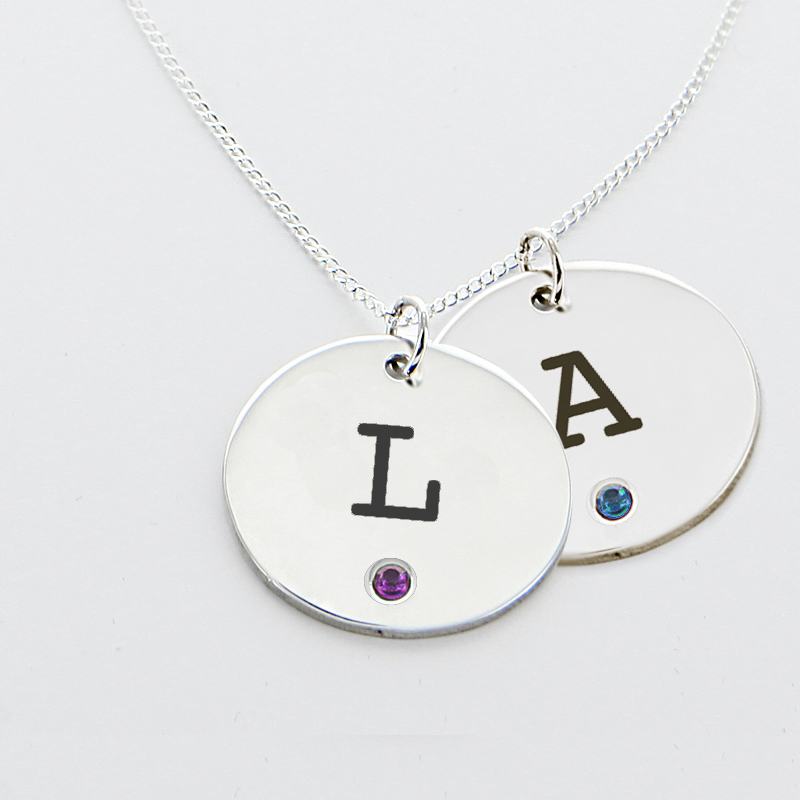 engraved initial one circle pendant with birthstone in silver