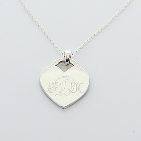 Engraved Monogram Heart Necklace in Silver