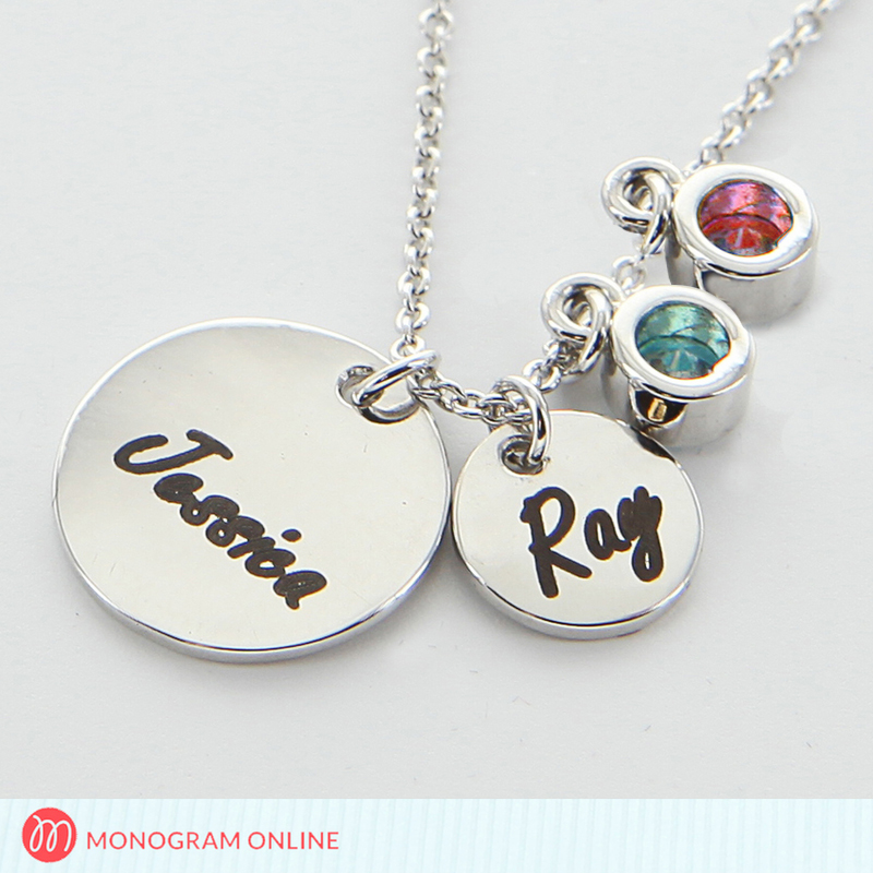 engraved name two circle pendants with two birthstone