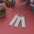 Engraved Rectangle Three Pendants with Birthstones