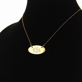 Engraved Scroll Monogram Oval Necklace in Gold over Silver