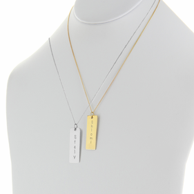 Engraved Flat Rectangle Pendant in Silver
