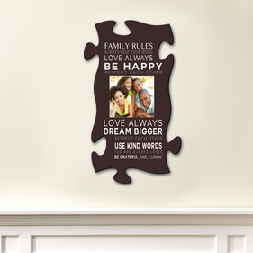 Family Inspiration Custom Photo Puzzle Piece Wall Sign