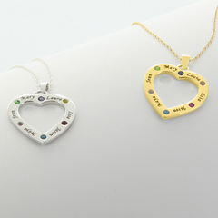 Family Necklace Personalized with Engraving and Birthstone in Sterling Silver