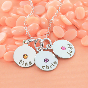 Family Necklace Personalized with Engraving and Swarovski Birthstone in Sterling Silver