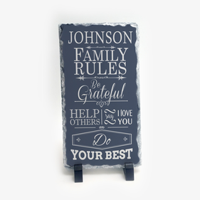 Family Rules Personalized Slate