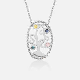 Sterling Silver Birthstone Family Tree Necklace