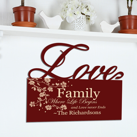 Family Where Life Begins Custom Love Wall Sign