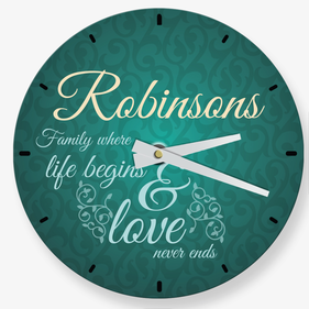 Family Where Life Begins Personalized Wall Clock